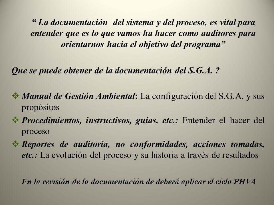 Que se puede obtener de la documentación del S.G.A.