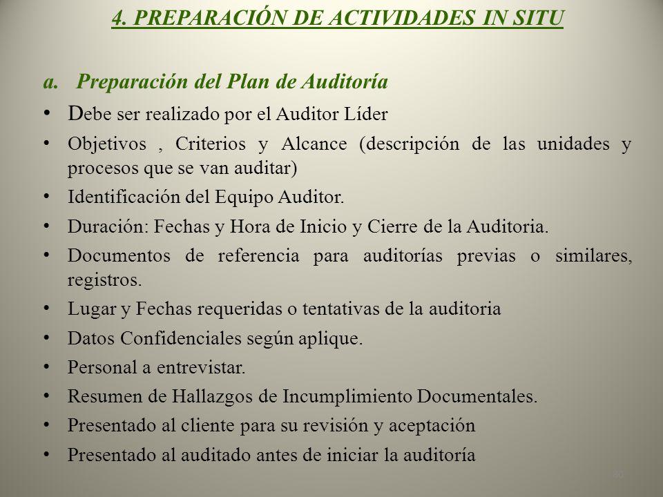 4. PREPARACIÓN DE ACTIVIDADES IN SITU