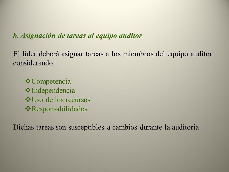 b. Asignación de tareas al equipo auditor
