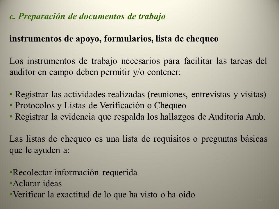 c. Preparación de documentos de trabajo