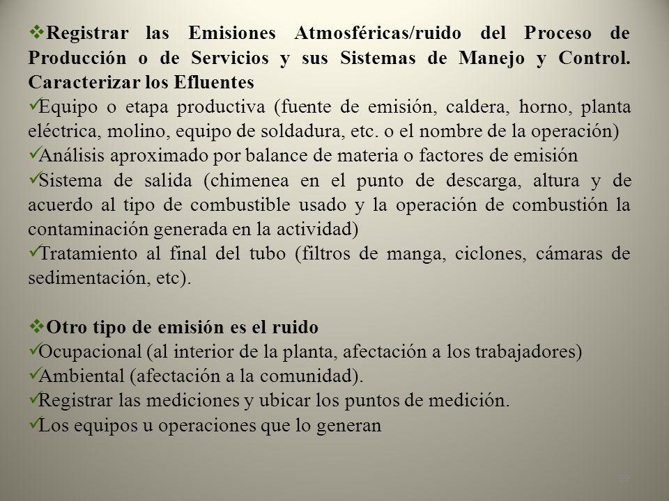 Registrar las Emisiones Atmosféricas/ruido del Proceso de Producción o de Servicios y sus Sistemas de Manejo y Control. Caracterizar los Efluentes