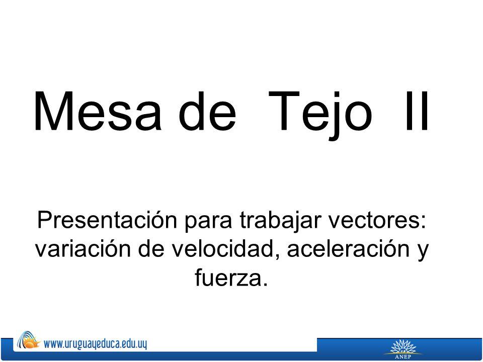 Mesa de Tejo II Presentación para trabajar vectores: variación de velocidad, aceleración y fuerza.