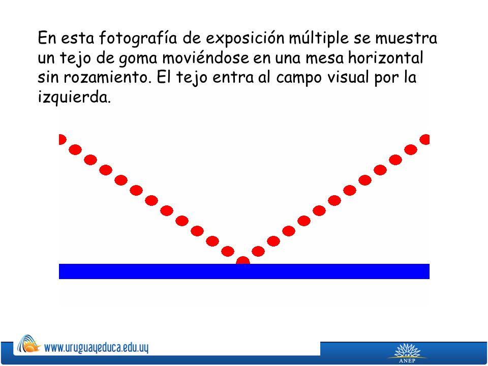 En esta fotografía de exposición múltiple se muestra un tejo de goma moviéndose en una mesa horizontal sin rozamiento.