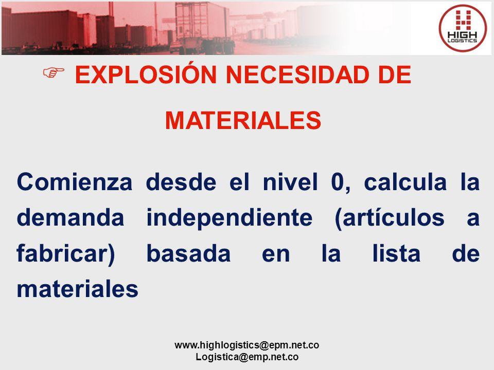 EXPLOSIÓN NECESIDAD DE MATERIALES