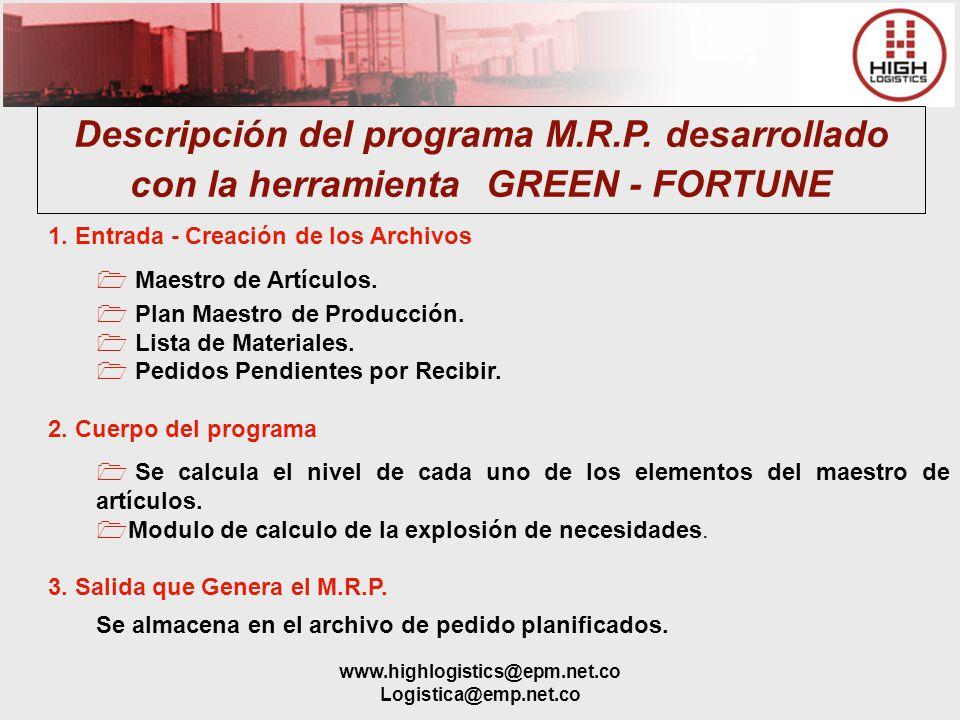 Descripción del programa M. R. P
