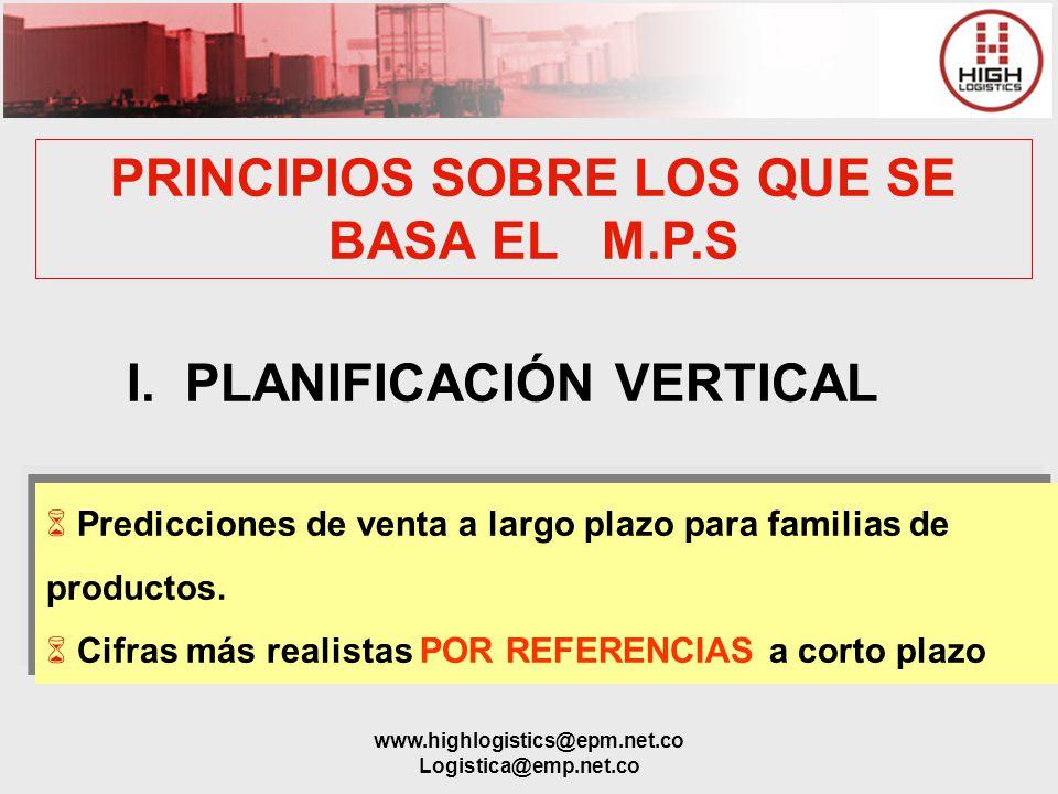 PRINCIPIOS SOBRE LOS QUE SE BASA EL M.P.S I. PLANIFICACIÓN VERTICAL