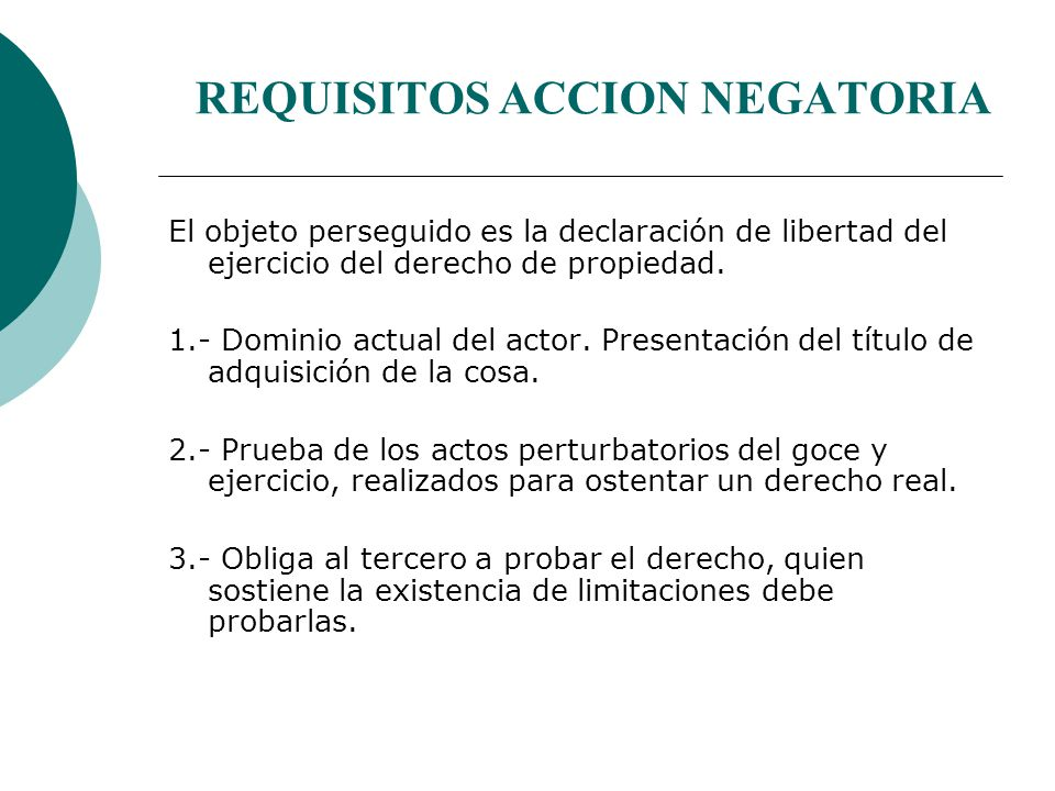 REQUISITOS ACCION NEGATORIA