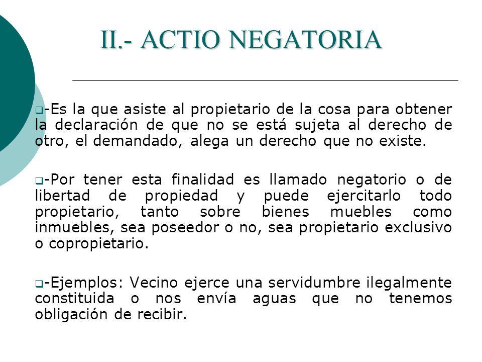 II.- ACTIO NEGATORIA