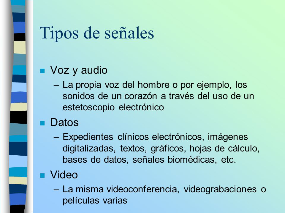 Tipos de señales Voz y audio Datos Video