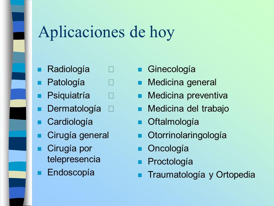 Aplicaciones de hoy Radiología Ö Patología Ö Psiquiatría Ö
