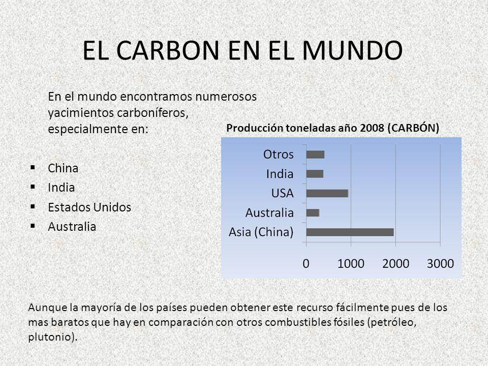 EL CARBON EN EL MUNDO En el mundo encontramos numerosos yacimientos carboníferos, especialmente en: