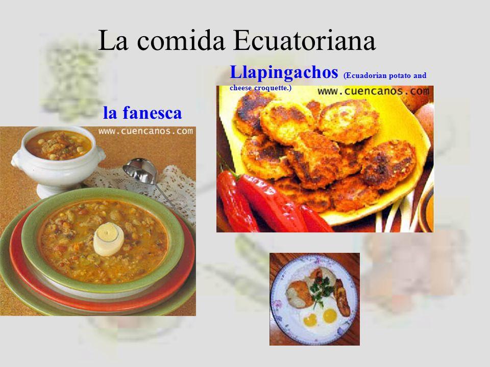 La comida Ecuatoriana Llapingachos (Ecuadorian potato and cheese croquette.) la fanesca