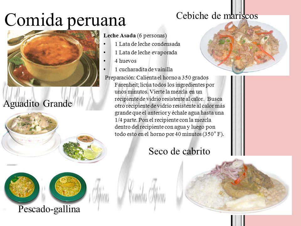 Comida peruana Cebiche de mariscos Aguadito Grande Seco de cabrito