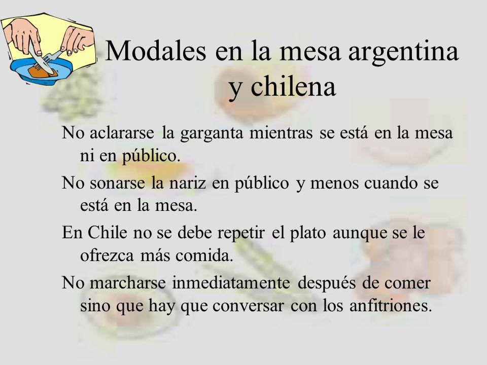 Modales en la mesa argentina y chilena