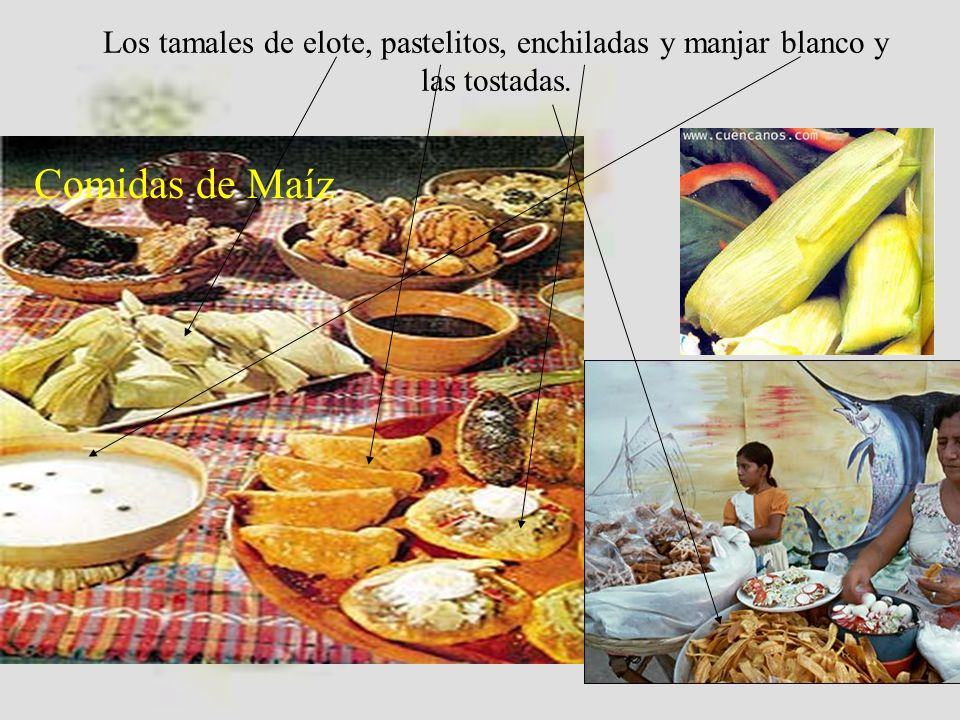 Los tamales de elote, pastelitos, enchiladas y manjar blanco y las tostadas.