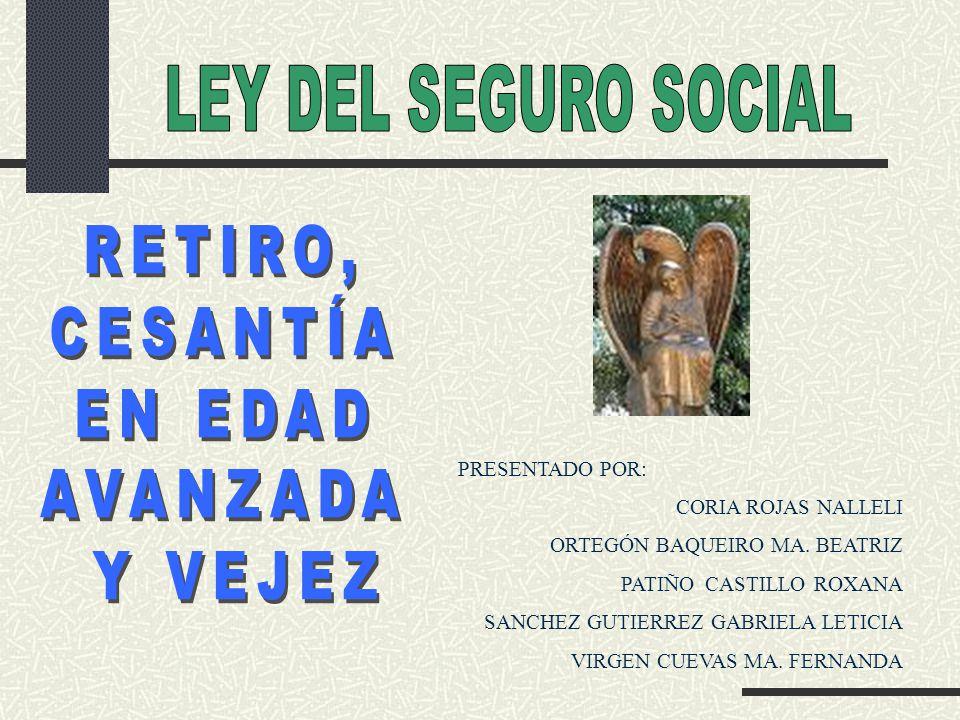 LEY DEL SEGURO SOCIAL RETIRO, CESANTÍA EN EDAD AVANZADA Y VEJEZ