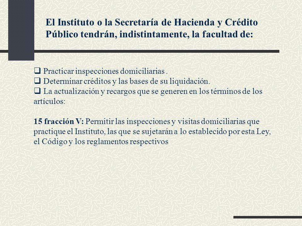 El Instituto o la Secretaría de Hacienda y Crédito Público tendrán, indistintamente, la facultad de: