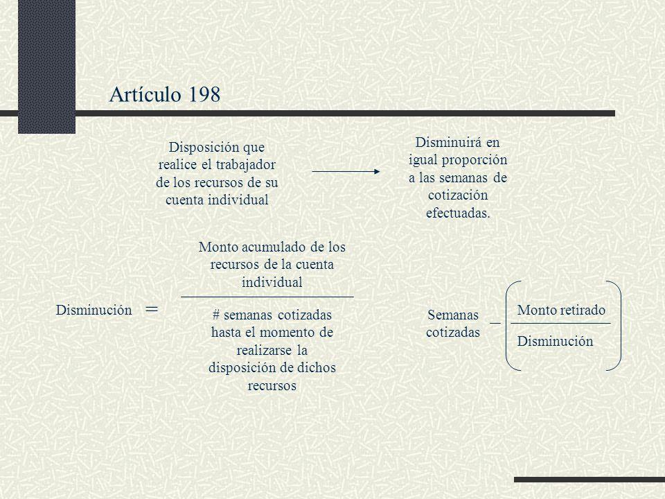 Artículo 198 Disminuirá en igual proporción a las semanas de cotización efectuadas.