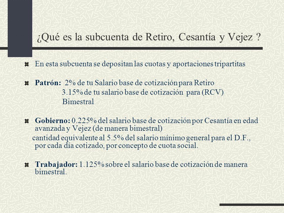 ¿Qué es la subcuenta de Retiro, Cesantía y Vejez