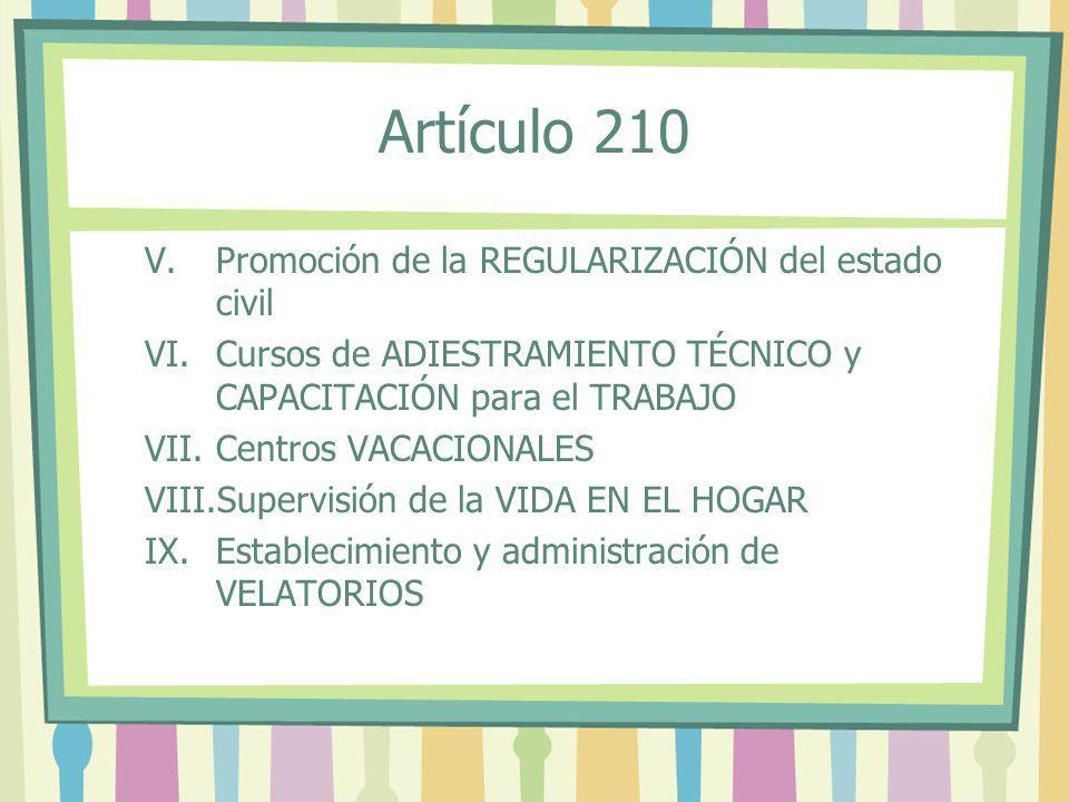 Artículo 210 Promoción de la REGULARIZACIÓN del estado civil