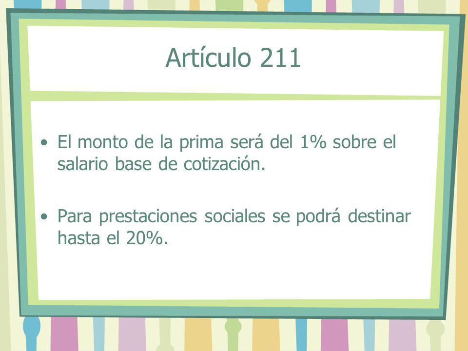 Artículo 211 El monto de la prima será del 1% sobre el salario base de cotización.