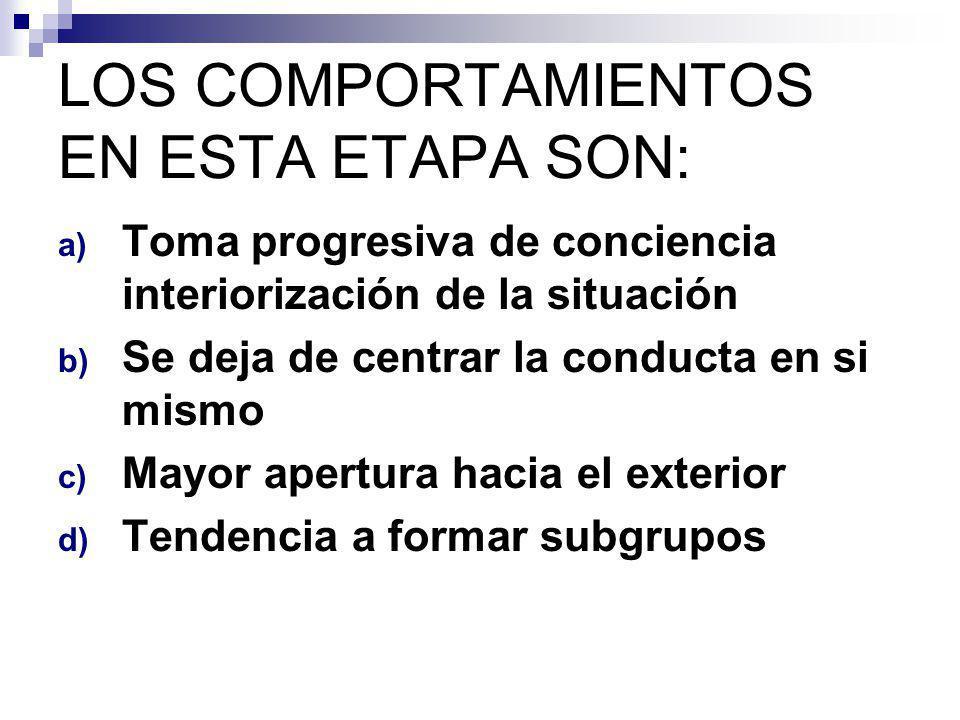LOS COMPORTAMIENTOS EN ESTA ETAPA SON:
