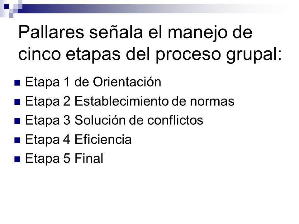 Pallares señala el manejo de cinco etapas del proceso grupal: