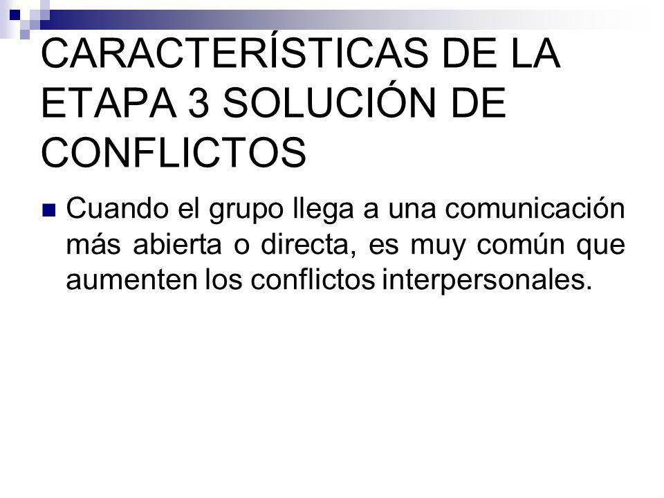 CARACTERÍSTICAS DE LA ETAPA 3 SOLUCIÓN DE CONFLICTOS