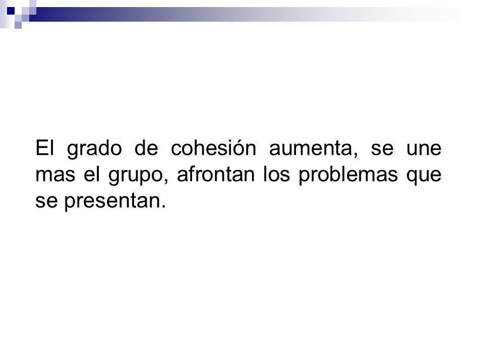 El grado de cohesión aumenta, se une mas el grupo, afrontan los problemas que se presentan.