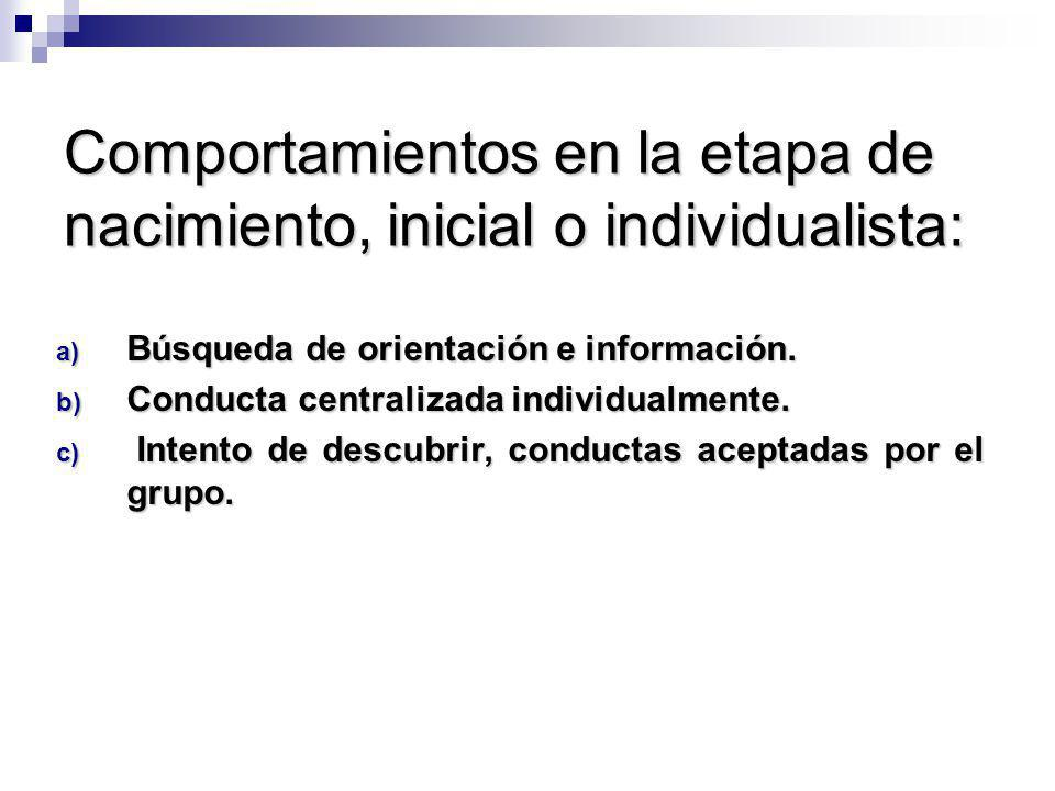 Comportamientos en la etapa de nacimiento, inicial o individualista: