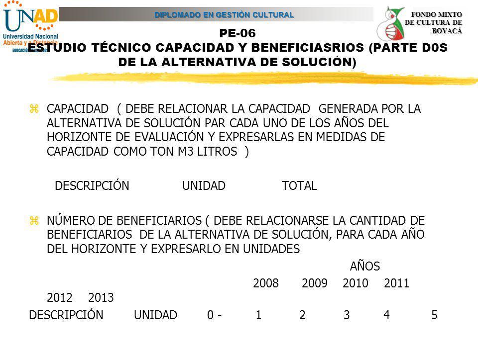 PE-06 ESTUDIO TÉCNICO CAPACIDAD Y BENEFICIASRIOS (PARTE D0S DE LA ALTERNATIVA DE SOLUCIÓN)