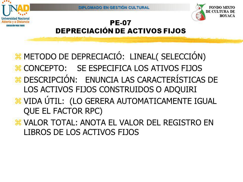 PE-07 DEPRECIACIÓN DE ACTIVOS FIJOS