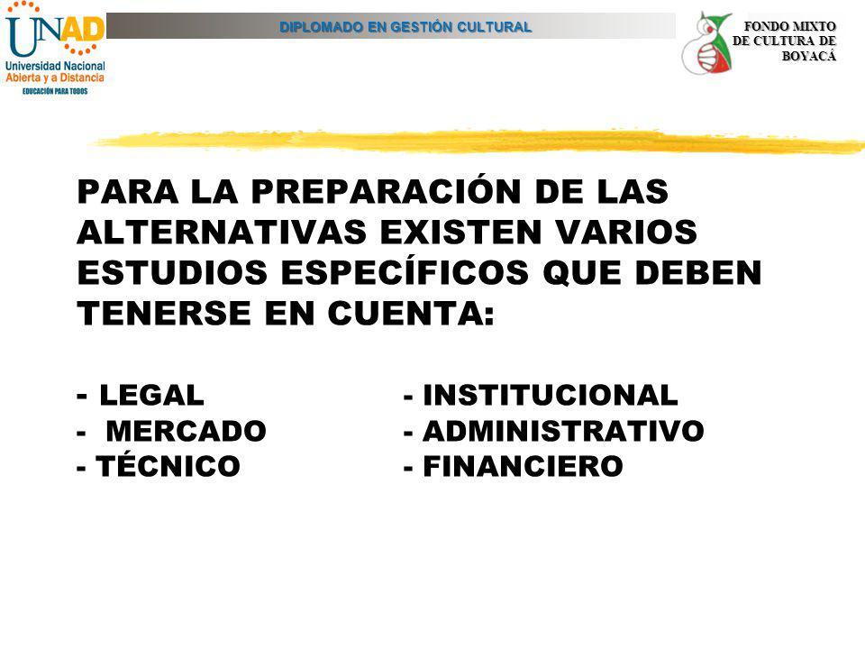 PARA LA PREPARACIÓN DE LAS ALTERNATIVAS EXISTEN VARIOS ESTUDIOS ESPECÍFICOS QUE DEBEN TENERSE EN CUENTA: - LEGAL - INSTITUCIONAL - MERCADO - ADMINISTRATIVO - TÉCNICO - FINANCIERO