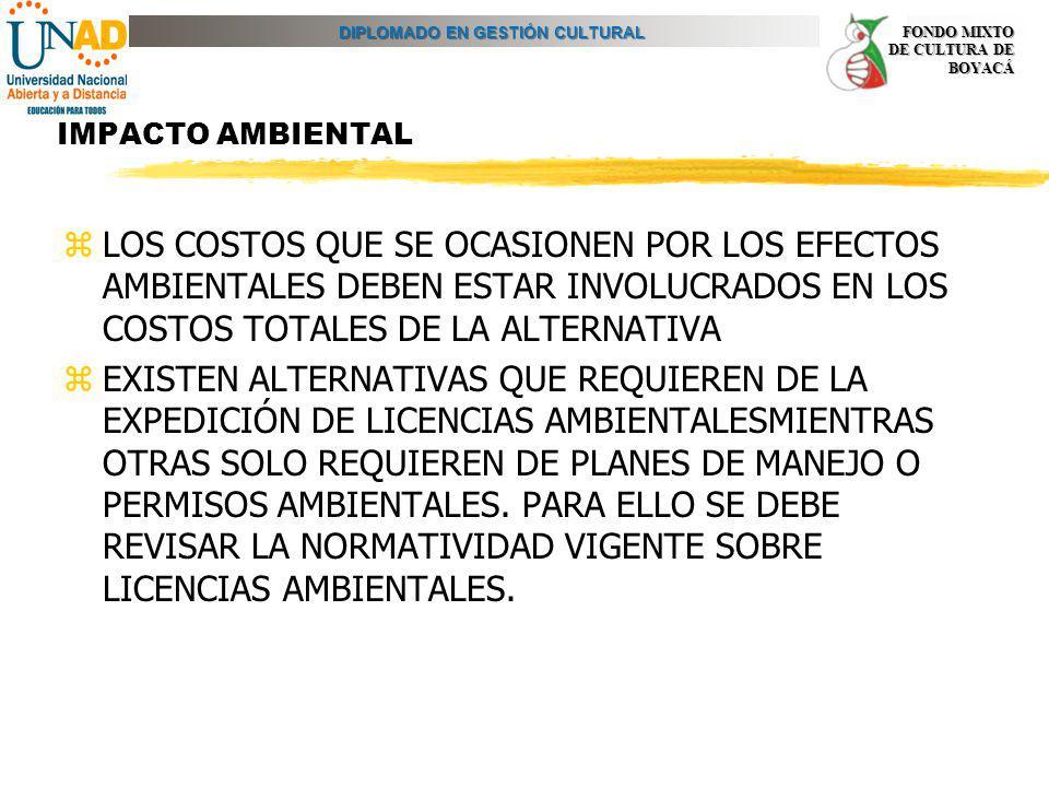IMPACTO AMBIENTAL LOS COSTOS QUE SE OCASIONEN POR LOS EFECTOS AMBIENTALES DEBEN ESTAR INVOLUCRADOS EN LOS COSTOS TOTALES DE LA ALTERNATIVA.