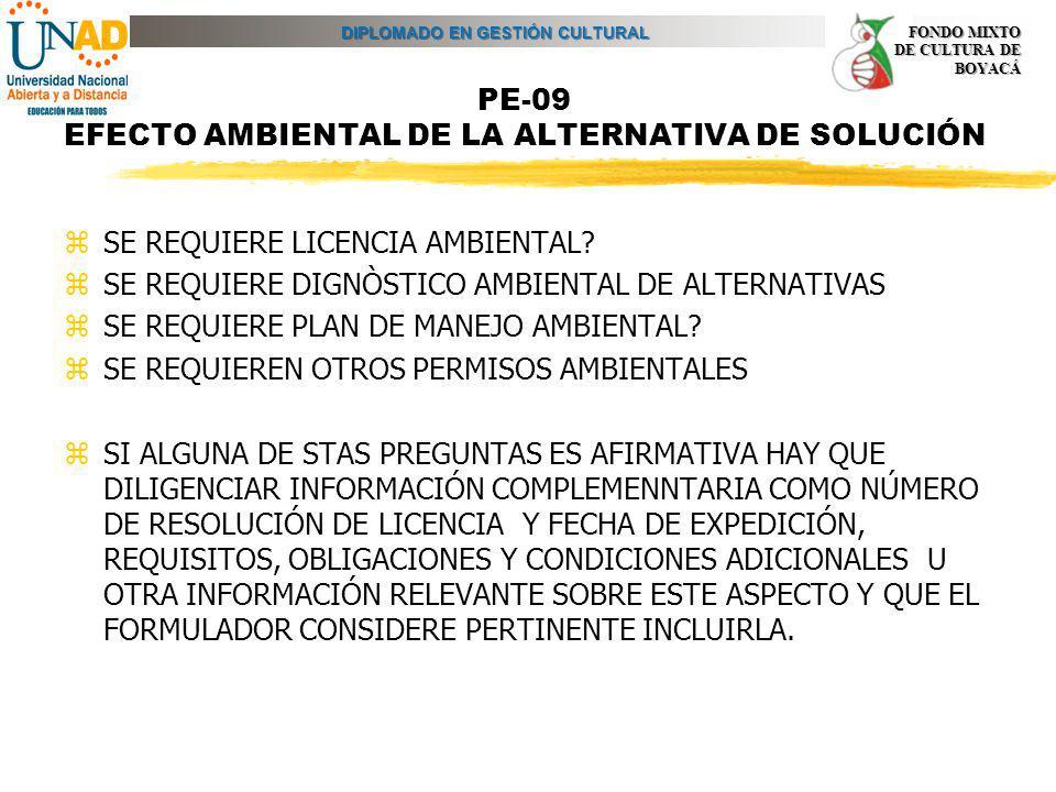 PE-09 EFECTO AMBIENTAL DE LA ALTERNATIVA DE SOLUCIÓN
