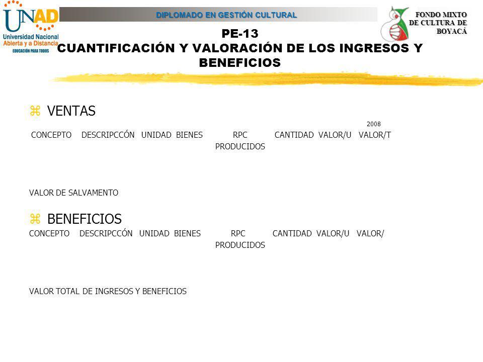 PE-13 CUANTIFICACIÓN Y VALORACIÓN DE LOS INGRESOS Y BENEFICIOS