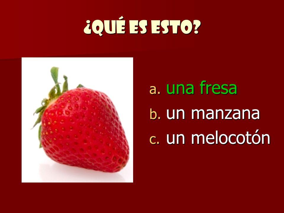 ¿Qué es esto una fresa un manzana un melocotón
