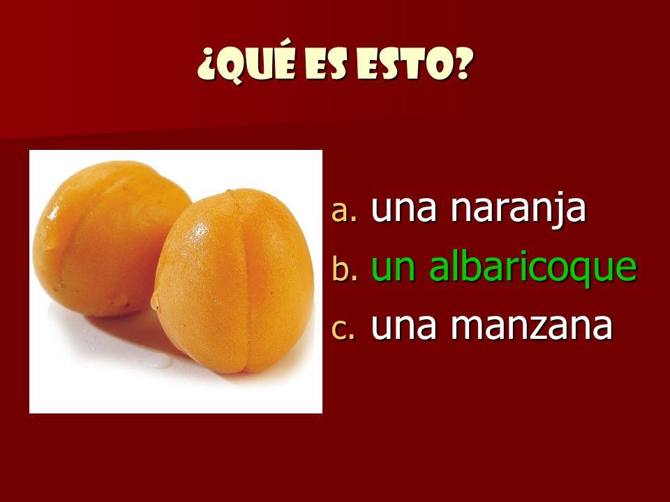 ¿Qué es esto una naranja un albaricoque una manzana