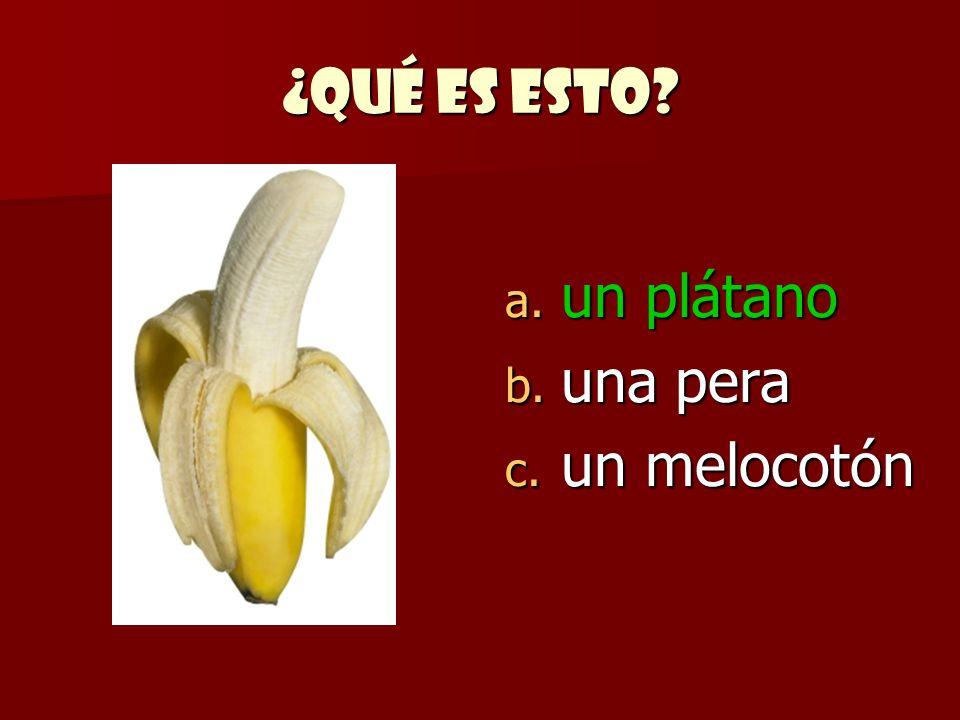 ¿Qué es esto un plátano una pera un melocotón