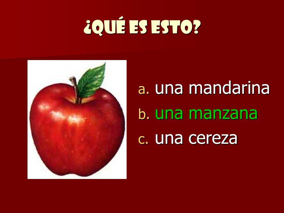 ¿Qué es esto una mandarina una manzana una cereza