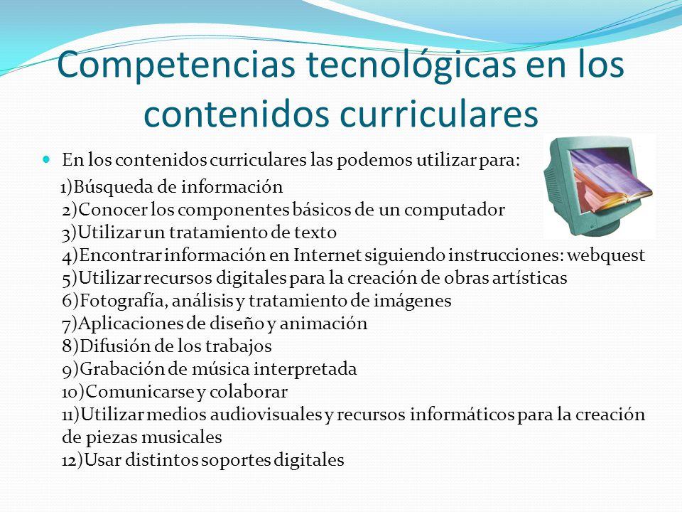 Competencias tecnológicas en los contenidos curriculares