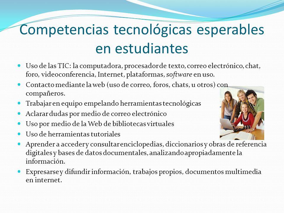 Competencias tecnológicas esperables en estudiantes