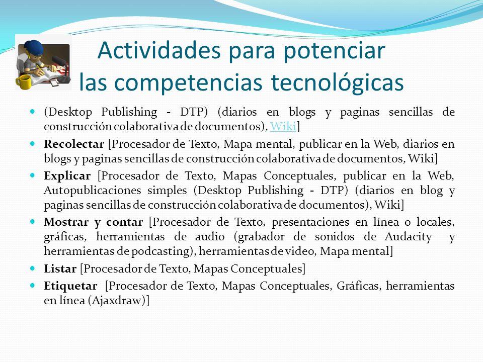 Actividades para potenciar las competencias tecnológicas