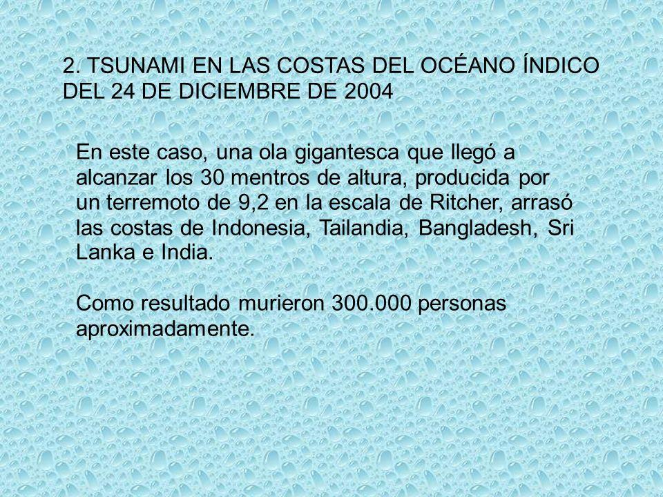 2. TSUNAMI EN LAS COSTAS DEL OCÉANO ÍNDICO DEL 24 DE DICIEMBRE DE 2004