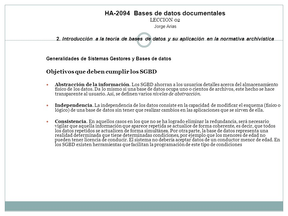 HA-2094 Bases de datos documentales LECCION 02 Jorge Arias 2