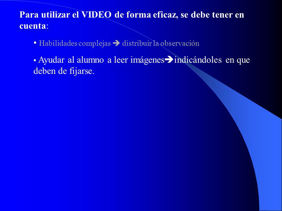 Para utilizar el VIDEO de forma eficaz, se debe tener en cuenta: