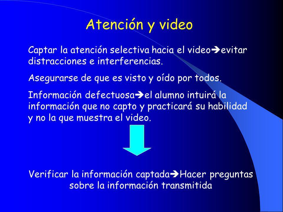 Atención y video Captar la atención selectiva hacia el videoevitar distracciones e interferencias.