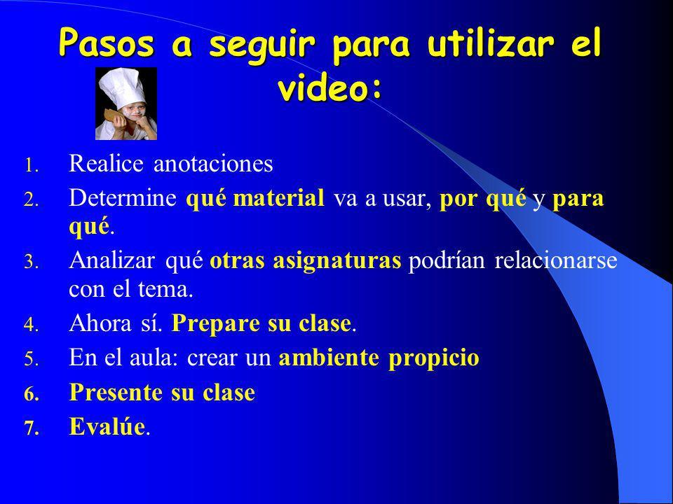Pasos a seguir para utilizar el video: