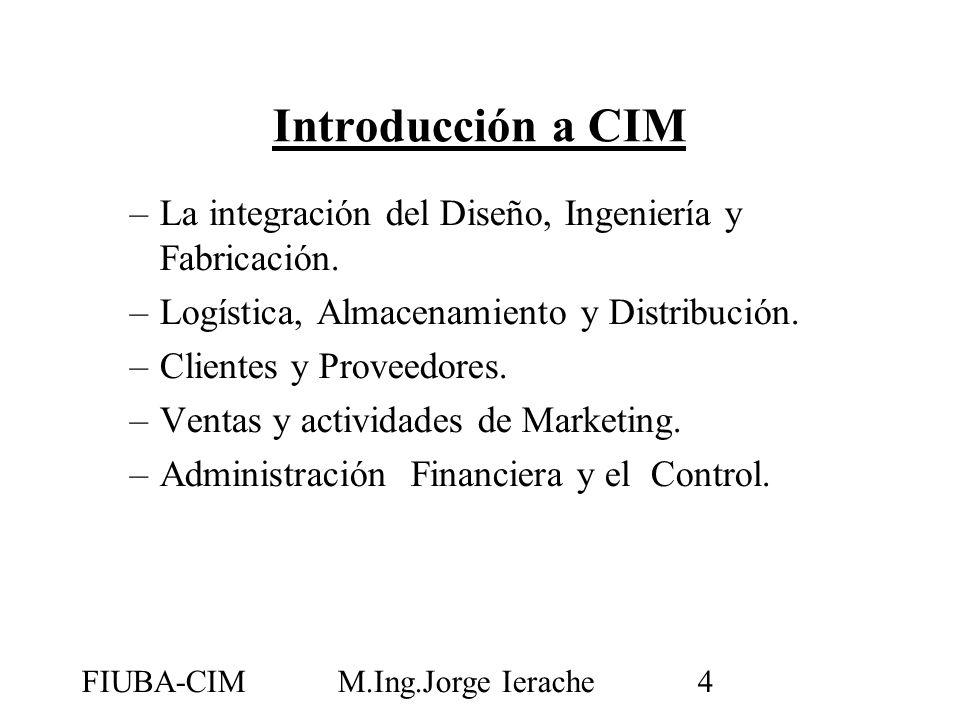 Introducción a CIM La integración del Diseño, Ingeniería y Fabricación. Logística, Almacenamiento y Distribución.