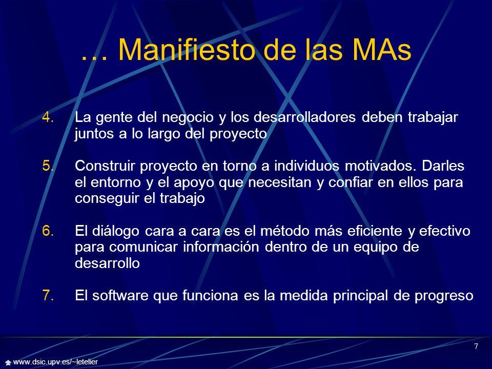 … Manifiesto de las MAs La gente del negocio y los desarrolladores deben trabajar juntos a lo largo del proyecto.